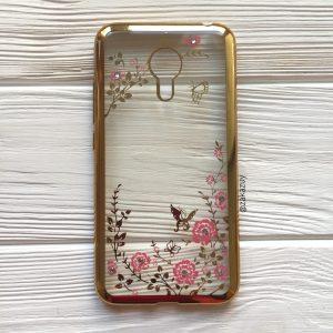 Прозрачный силиконовый (TPU) чехол с цветами и стразами для Meizu Mx6 (Gold)