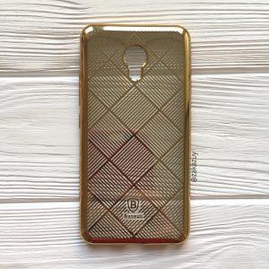 Прозрачный силиконовый (TPU) чехол с глянцевым золотым узором для Meizu M5 (Gold)