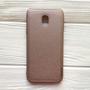 Силиконовый (TPU) чехол с имитацией кожи для Samsung J330 Galaxy J3 (2017) Rose Gold