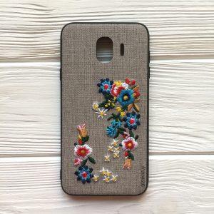Чехол – бампер – накладка с вышивкой с цветами TPU+PC Samsung J400 Galaxy J4 (2018)