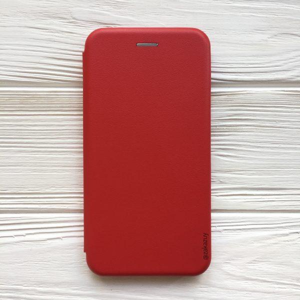 Красный кожаный чехол-книжка (экокожа+TPU) для Xiaomi Redmi 6 (Red)