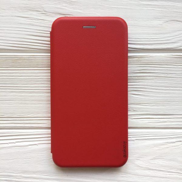 Кожаный чехол-книжка 360 с визитницей для Xiaomi Redmi Note 6 Pro (Red)