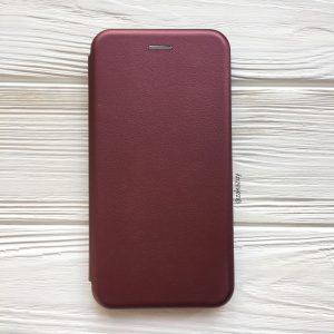 Кожаный чехол-книжка (экокожа+TPU) для Samsung J600 Galaxy J6 (2018) (Marsala)