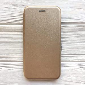 Кожаный чехол-книжка (экокожа+TPU) для Samsung A750 Galaxy A7 (2018) (Gold)