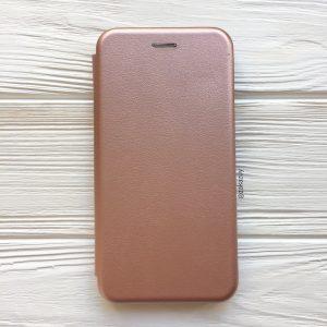 Кожаный чехол-книжка (экокожа+TPU) для Samsung J600 Galaxy J6 (2018) (Rose Gold)