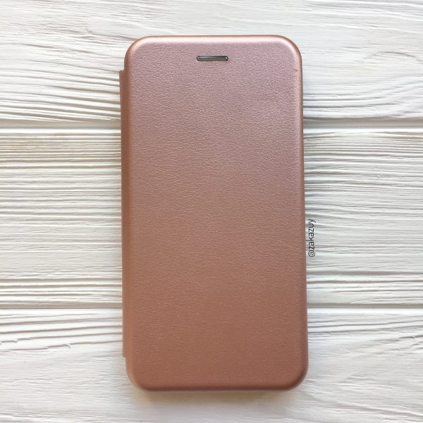 Розовый кожаный чехол-книжка (экокожа+TPU) для Xiaomi Redmi Note 6 Pro (Rose Gold)