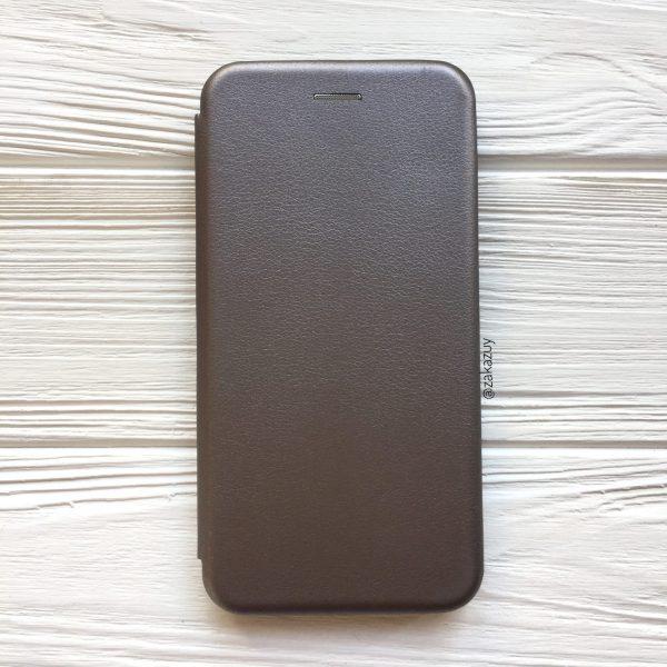 Кожаный чехол-книжка 360 с визитницей для Xiaomi Redmi Note 6 Pro (Grey)