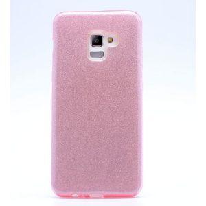 Силиконовый (TPU+PC) чехол Shine с блестками для Samsung A530 Galaxy A8 2018 (Розовый)