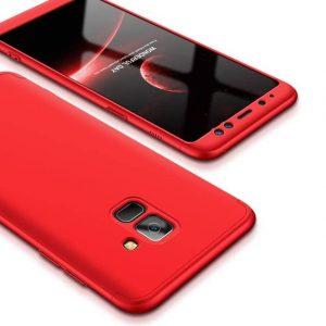 Матовый пластиковый чехол GKK 360 градусов для Samsung Galaxy A6 2018 (A600) – Red