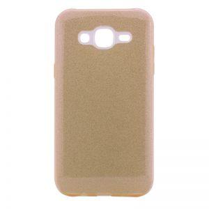 Силиконовый (TPU+PC) чехол Shine с блестками для Samsung J500 Galaxy J5 2015 (Золотой)