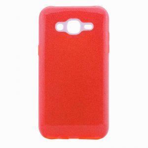 Силиконовый (TPU+PC) чехол Shine с блестками для Samsung J500 Galaxy J5 2015 (Красный)