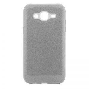 Серебряный силиконовый (TPU) чехол (накладка) с блестками Shine для Samsung J700H / J701 Galaxy J7 (2015) / J7 Neo (Silver)