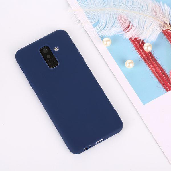 Матовый силиконовый TPU чехол для Samsung Galaxy A6 Plus (2018) – Синий