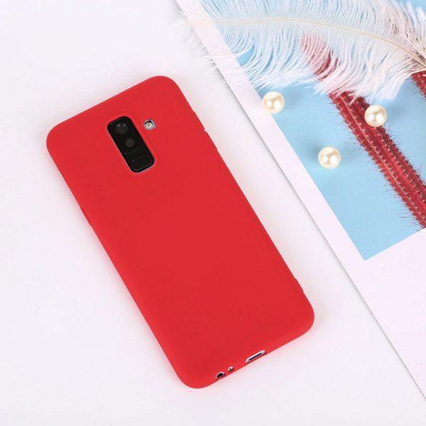 Матовый силиконовый TPU чехол для Samsung Galaxy A6 Plus (2018) Красный