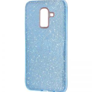 Силиконовый (TPU+PC) чехол с блестками Shine для Samsung J810 Galaxy J8 2018 (Голубой)
