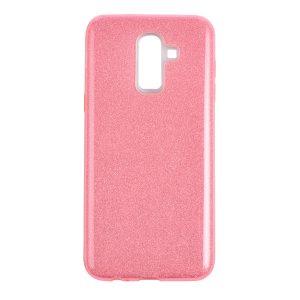 Силиконовый (TPU+PC) чехол с блестками Shine для Samsung J810 Galaxy J8 2018 (Розовый)