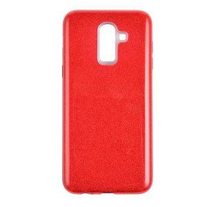 Силиконовый (TPU+PC) чехол с блестками Shine для Samsung J810 Galaxy J8 2018 (Красный)