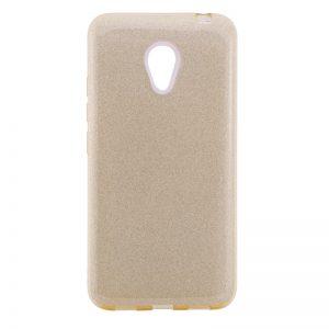 Силиконовый (TPU+PC) чехол Shine с блестками для Meizu M5 (Золотой)