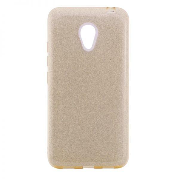 Золотой силиконовый (TPU+PC) чехол (накладка) Shine с блестками для Meizu M5 (Gold)