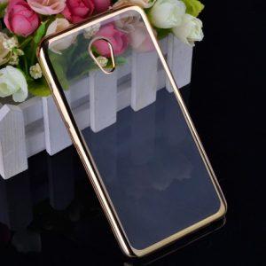 Прозрачный силиконовый чехол для Meizu M5 Note с глянцевой окантовкой (Gold)