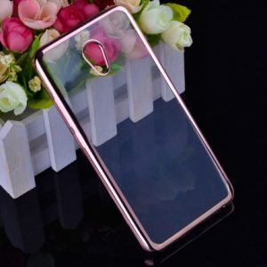 Прозрачный силиконовый чехол с глянцевой окантовкой для Meizu M5 Note (Rose Gold)