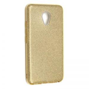 Силиконовый (TPU+PC) чехол с блестками Shine для Meizu M5 Note (Золотой)