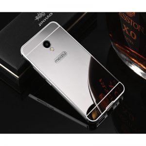 Алюминиевый чехол-бампер с акриловой вставкой и зеркальный покрытием для Meizu M6 (Серебряный / Silver)