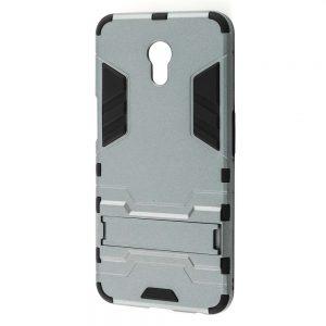Серый противоударный чехол с подставкой Transformer для Meizu M6s с мощной защитой корпуса (Gun Metal)