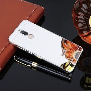 Cветло-серый алюминиевый чехол с акриловой вставкой с зеркальным покрытием для Huawei Mate 10 lite (Silver)