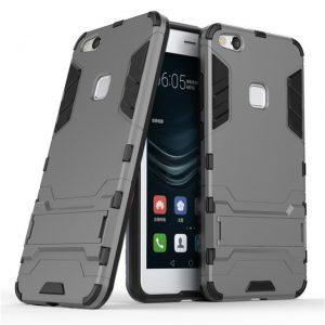 Серый противоударный чехол (бампер) с подставкой Transformer для Huawei P10 Lite (Gun Metal)
