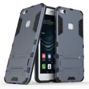 Темно-серый противоударный чехол (бампер) с подставкой Transformer для Huawei P10 Lite (Metal Slate)