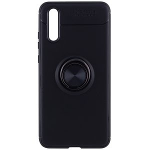 Cиликоновый чехол Deen ColorRing с креплением под магнитный держатель для Huawei P20 (Black)