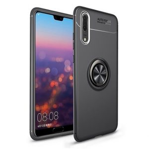 Черный силиконовый (TPU+PC) чехол Deen ColorRing с кольцом и креплением под магнитный держатель для Huawei P20 Lite (Black)