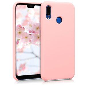 Розовый оригинальный силиконовый (TPU) чехол Silicone cover для Huawei P20 Lite (Pink)