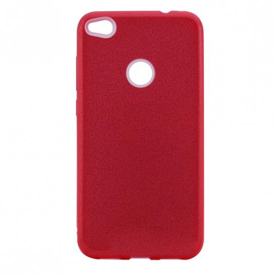 Красный силиконовый (TPU+PC) чехол (накладка) с блестками для Huawei P8 Lite 2017 (Red)