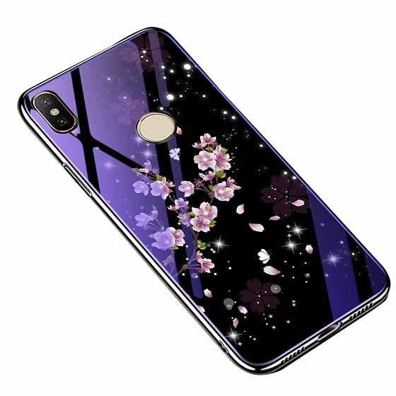 TPU+Glass чехол Fantasy с глянцевыми торцами для Xiaomi Redmi Note 6 Pro (Flowers)