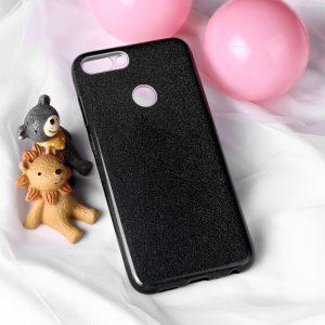 Cиликоновый (TPU+PC) чехол Shine с блестками для Huawei P Smart / Enjoy 7S (Black)