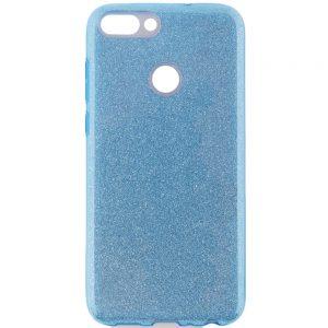 Голубой силиконовый (TPU+PC) чехол (накладка) с блестками для Huawei P Smart / Enjoy 7S (Blue)
