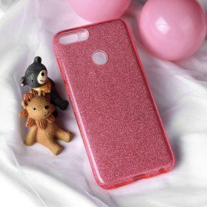 Розовый силиконовый (TPU+PC) чехол (накладка) с блестками для Huawei P Smart / Enjoy 7S (Pink)