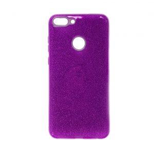 Фиолетовый силиконовый (TPU+PC) чехол (накладка) с блестками для Huawei P Smart / Enjoy 7S (Violet)