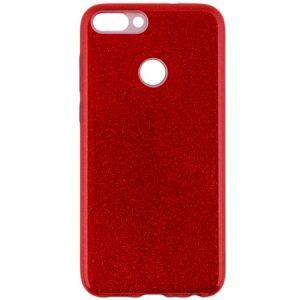 Красный силиконовый (TPU+PC) чехол (накладка) с блестками для Huawei P Smart / Enjoy 7S (Red)