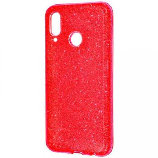 Красный силиконовый (TPU+PC) чехол (накладка) с блестками Shine для Huawei P Smart+ (nova 3i) Red