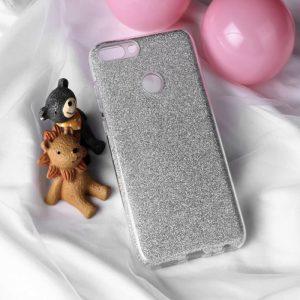 Серебряный силиконовый (TPU+PC) чехол (накладка) с блестками для Huawei P Smart / Enjoy 7S (Silver)