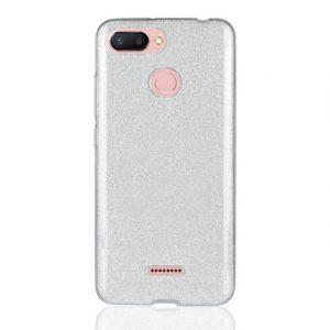 Силиконовый (TPU+PC) чехол Shine с блестками для Xiaomi Redmi 6 / Redmi 6A (Серебряный)