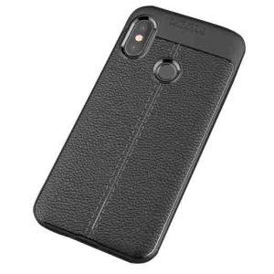 TPU чехол фактурный (с имитацией кожи) для Xiaomi Redmi S2 (Black)