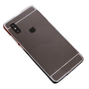 Металлический бампер с акриловой вставкой с зеркальным покрытием для Xiaomi Redmi 6 Pro / Mi A2 Lite (Grey)