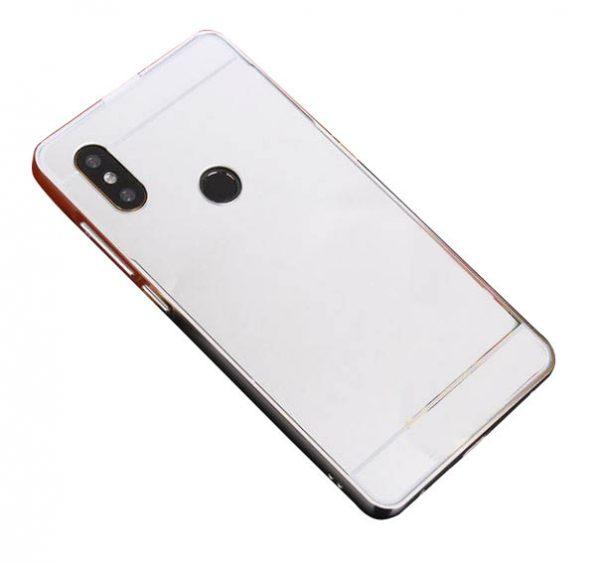 Металлический бампер с акриловой вставкой с зеркальным покрытием для Xiaomi Redmi 6 Pro / Mi A2 Lite (Silver)