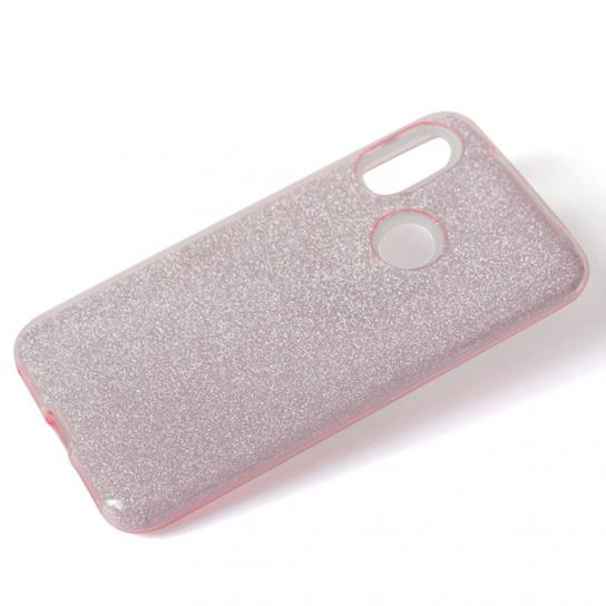 Силиконовый (TPU+PC) чехол Shine с блестками для Xiaomi Redmi Note 6 Pro (Розовый)