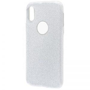 Cиликоновый (TPU+PC) чехол Shine с блестками для Xiaomi Redmi 7 (Серебряный)