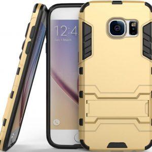 Ударопрочный чехол Transformer с подставкой для Samsung G930F Galaxy S7 (Gold)